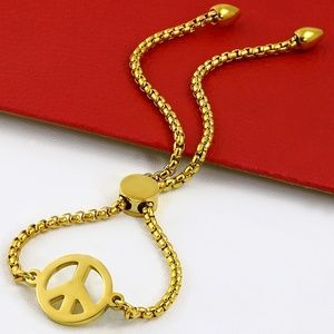 Jewelry - Gold Color Plated Stainless Steel Peace Sign Rolo